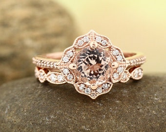 AAA Morganite Engagement Ring Set  Diamond Wedding Ring Set with Art deco band In 14k Rose Gold Gem1224, Ship within 2-4 days