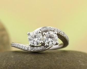 TWO STONE Engagement Ring  Forever One Moissanite  In 14K White Gold  Engagement Ring Set,Bridal Ring Set -ST233042