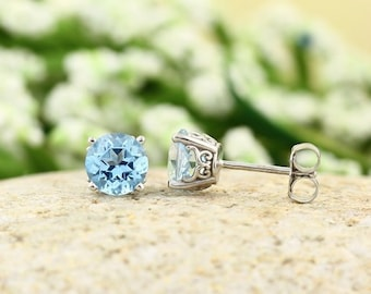 Solid 14k White Gold Gemstone Stud Earrings, 6mm Round (Ice Blue Topaz)