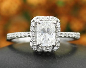 Certified  Emerald Cut /Octagon   Forever One Moissanite (Near-colorless)  Solid 14K White Gold   Engagement  Ring - OV94506
