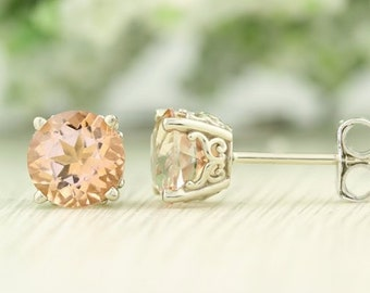 Solid 14k White Gold Topaz ( Fancy morganite color) Stud Earrings, 6mm Round each