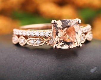 AAA Morganite Engagement Ring Set , Diamond Wedding Ring Set  with Art deco wedding band In 14k Rose Gold 7mm Cushion Gem1446