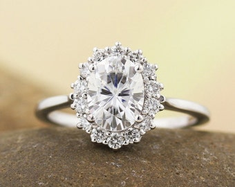 1.50 Ct moissanite Colorless Halo Engagement  Ring and Band Set in  14K White Gold Anniversary Gift For Her  ST82717