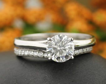 Certified 7mm round Forever One Moissanite Colorless Engagement Ring & Diamond Wedding band set  In 14k White Gold,  Gem999