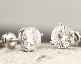 3 cttw FOREVER Brilliant Moissanite 3-Prong Threaded Post Stud Earrings in 14k White Gold-ST33035, 34743