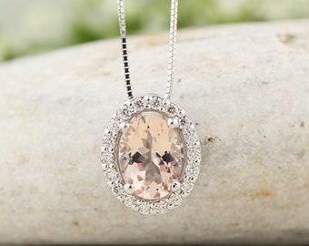 "Certified 14k White Gold Diamond Morganite Halo Style Pendant Necklace, 18"""