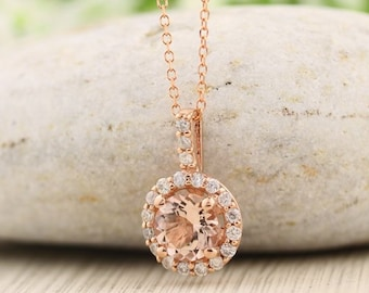 "14k Rose Gold Diamond Morganite Halo style Pendant Necklace, 18"" rose gold chain."