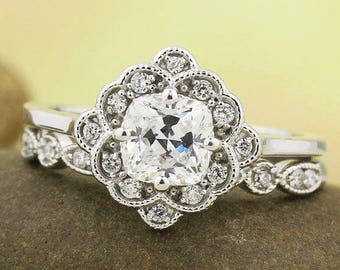Certified  Cushion Forever One Moissanite Near Colorless Engagement Ring & Diamond Wedding band set, Vintage style In 14k White Gold,Gem1433