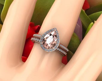 AAA Morganite Diamond Engagement Ring Set  Diamond Wedding Ring Set Vintage Floral style In 14k Rose Gold 10x7mm Pear