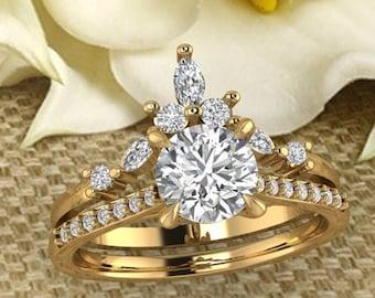 Solid 14K Gold Round Moissanite (DEF)   Engagement Ring Set  ,Diamond Ring ,Moissanite wedding ring  Gift For Her