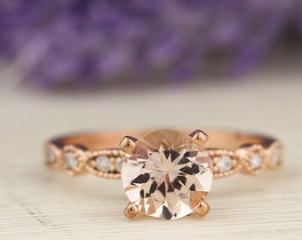 AAA 7mm Round Morganite  & Diamond Engagement Ring In 14k Rose Gold  Gem924-R