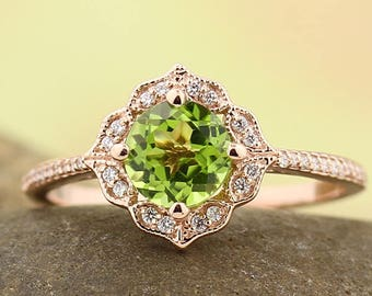 Natural Peridot Engagement Ring Diamond Wedding Ring Vintage Floral Ring In 14k Rose Gold Gem1224
