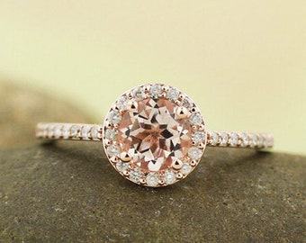 Morganite Engagement Diamond Halo Ring In 10k Rose Gold Gem1378