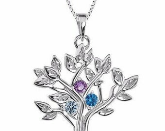 Family Birthstone My Tree Family  Necklace , 2-6-Stone Family Tree  Pendant Necklace. Gift Idea for Mom, Grandma, Mothers Day