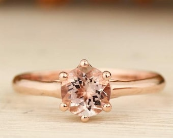 Fancy 6mm Round Morganite Solitaire Ring In  Solid 14K Rose Gold Gem1434