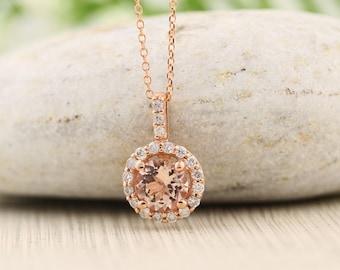 "14k Rose Gold Diamond Morganite Halo style Pendant Necklace, 18"" (rose-gold)"
