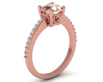 AAA Natural  Morganite and Diamond  Solitaire Engagement Ring  In 14k Rose Gold, 7mm Round Gem1459
