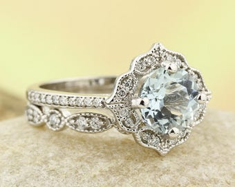 Natural Aquamarine Floral Style Engagement Ring Set , Diamond Wedding Ring Set  with Art deco wedding band In 14k white Gold Gem1224-924
