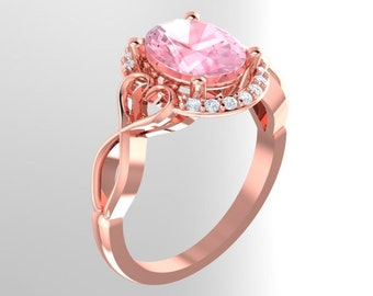 Morganite Engagement Ring Diamond Halo  Ring In 14k White / Rose Gold Gem1336  ***ON Promotion***