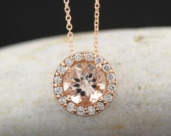 "Certified 14k Rose Gold Diamond Morganite Halo Style Pendant Necklace, 18"" (Rose-Gold)"
