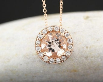 "Ready To Ship  --14k Rose Gold Diamond Morganite Halo Style Pendant Necklace, 18"" (Rose-Gold)"