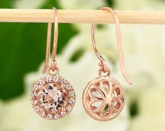 14K Rose Gold 2.00 CTTW Fancy Color Morganite & White Topaz Ladies Halo Style Earrings with French Hook - p232