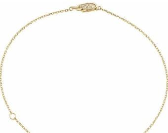 "14K Yellow Gold Diamond Angel Wing Bracelet 6 1/2-7 1/2"""