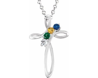 Family Birthstone Cross Pendant Necklace , 2-5-Stone Family Cross Pendant Necklace. Gift Idea for Mom, Grandma, Mothers Day