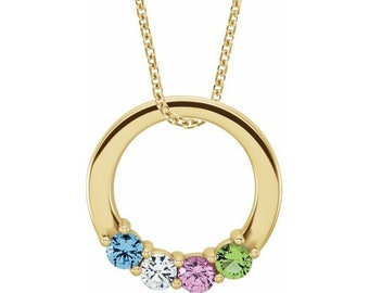 Family Birthstone Circle  Necklace , 2-5-Stone Family Circle Pendant Necklace. Gift Idea for Mom, Grandma, Mothers Day