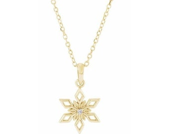 14K White / Yellow  Gold Diamond Snowflake Necklace