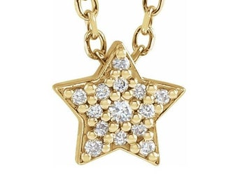 "14K Gold .05 CTW Diamond Star 16-18"" Necklace"