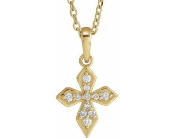 14K Solid White or Yellow  Gold Petite Diamond Cross Necklace