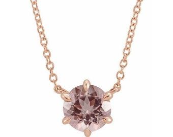 """14K Rose Gold 6MM Round Gemstone Solitaire Pendant Necklace.  Adjustable 16""""-18"""" . Birthday Stone  Necklace."""