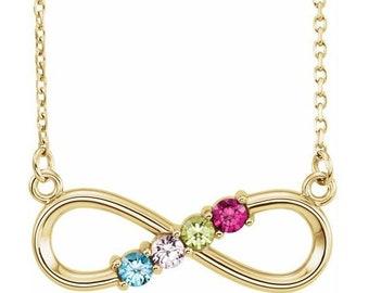 Family Birthstone Infinity-Inspired Pendant Necklace , 2-6-Stone Family Infinity-Inspired Necklace. Gift Idea for Mom, Grandma, Mothers Day