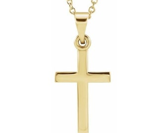 14K Solid White or Yellow  Gold Cross Necklace