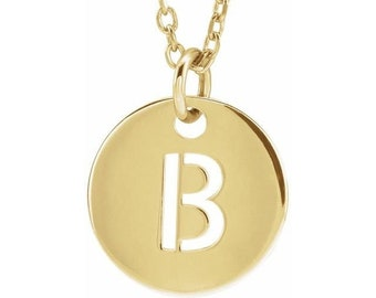 """14K Gold Initial 10 mm Disc 16-18"""" Necklace, Letter Necklace, Gold Necklace"""