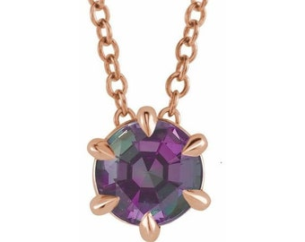 """14K Rose Gold Round Lab-Grown Alexandrite Solitaire 16-18"""" Necklace.  The ultimate color-change gem"""