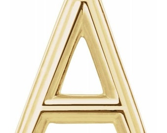 Initial Stud Earrings, Genuine 14K  White /Yellow /Rose Gold Letter Initial Stud Earrings (8mm)