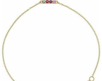 14K gold Family Birthstone Bracelet  , 2-5-Stone Family Bracelet  . Gift Idea for Mom, Grandma, Mothers Day