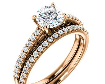 6mm Forever One Moissanite (Colorless) 14K Rose Gold wedding Ring Set -ST233949 (Other metals & stone options available)