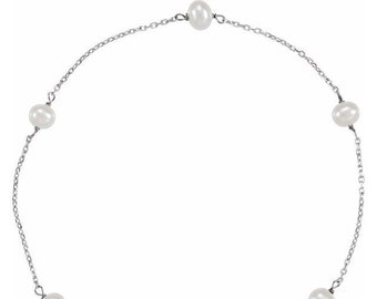 """14K White Freshwater Cultured Pearl Station 7"""" Bracelet -Ready To Ship"""