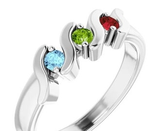 2, 3, 4, or 5 Birthstones Wave Mother's Ring in Solid 14k White, Yellow Or Rose Gold  Custom Family Ring ST5702