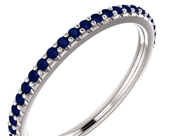 Stackable Half Eternity Blue Sapphire Wedding Band Ring   In 14k White  ,Rose or Yellow Gold ST233258 , Gem1213 *****On Promotion*****