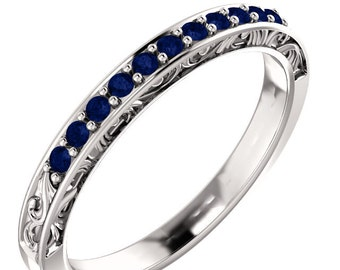 Stackable 14kt White  ,Rose or Yellow Gold  Floral Sculptural AAA Top Blue Sapphire Half Eternity Band Ring  ST233141-1440