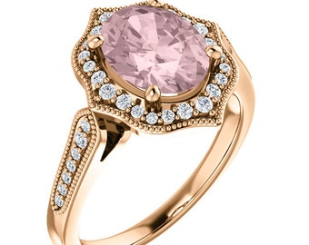 Morganite Ring Diamond Halo Morganite Engagement Ring In 14k Roes gold, 9x7mm gemstone - ST82998
