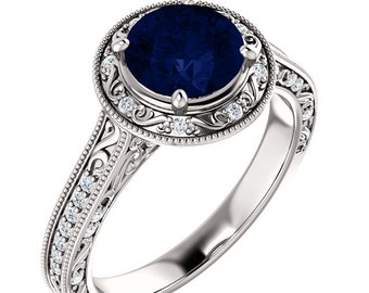 Art Deco Diamond Sapphire  Ring ,Vintage Style Engagement Ring In 14k white Gold, 7mm Round  - ST234149