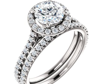 Certified  Forever One Moissanite, Near Colorless, Solid 14K White Gold Diamond Engagement Ring Set - ST233981