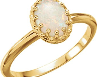 Vintage Crown  Australian White Opal Ring In 14k Yellow, White or Rose Gold 8x6mm Oval Cabochon
