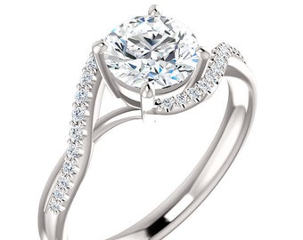 Forever One Moissanite (D-E-F) Diamond  14K White Gold wedding Ring -ST82949  (Other metals & stone options available)