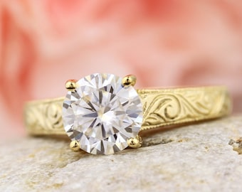 2ct Moissanite Engagement Ring in solid 14k Gold, Antique Engraved TRELLIS Style  Ring Gem1181